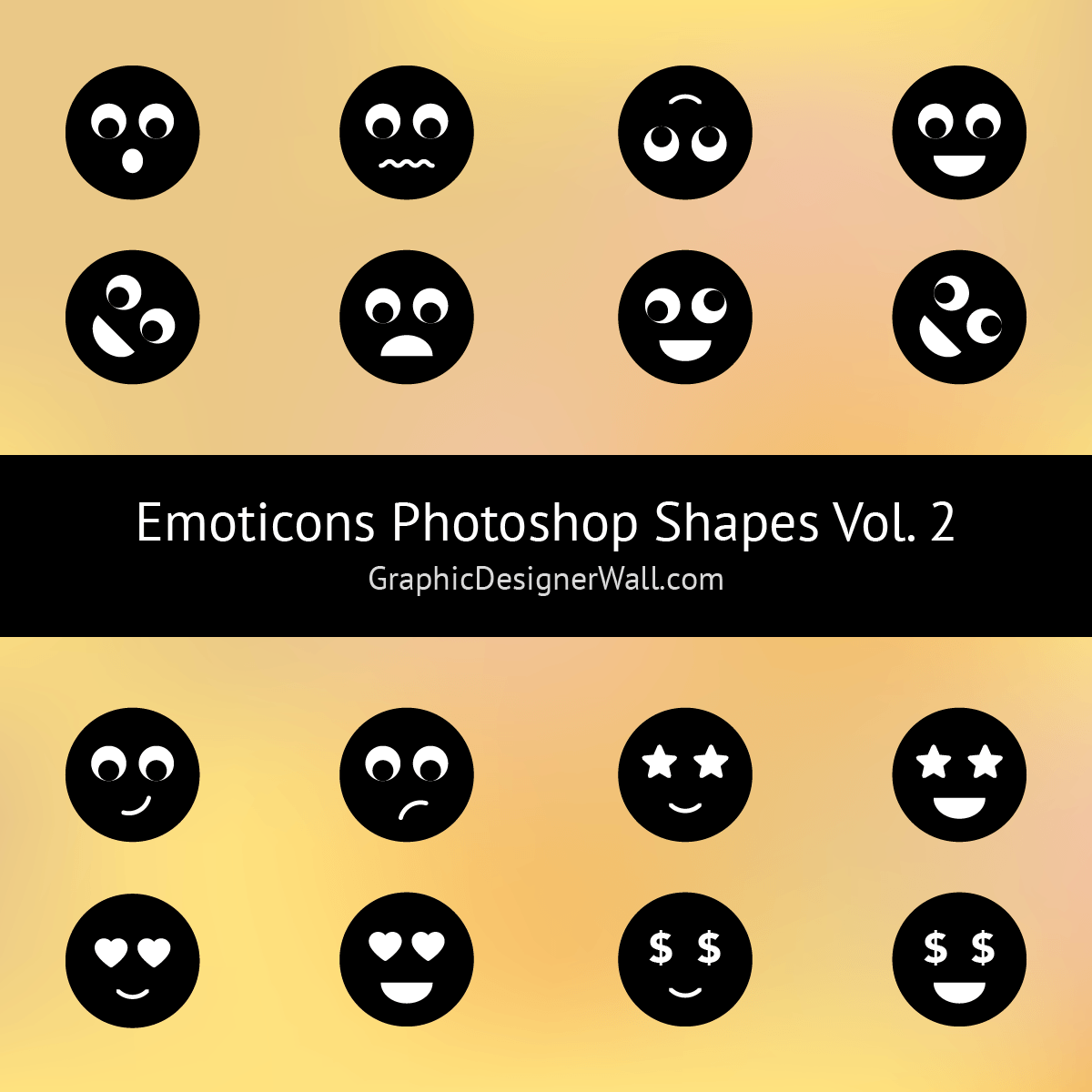 Cute Emoticons Photoshop Shapes (Volume 2)
