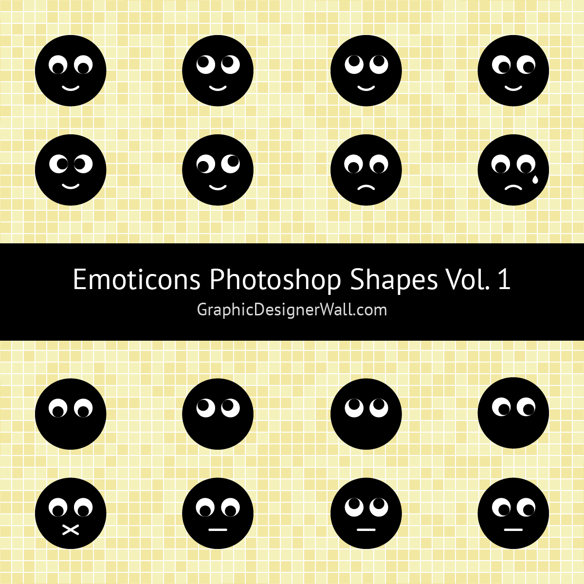Cute Emoticons Photoshop Shapes (Volume 1)